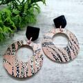 Genuine Leather / Cork Earrings, Blush Pink, Black  / White Leopard Print