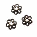 6mm Flower Bead Caps 2 Colours Antique Bronze Silver  50pcs