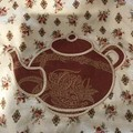 Tea pot themed fabric shopping or gift bag with applique embroidery, large style