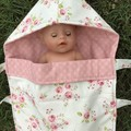 Snuggle Bug Sleeping Bag for Doll or Teddy (pink Floral or Lemon Aussie animals)