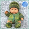 Knitted 4 piece set for 22cm Miniland doll