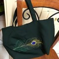 Indian theme fabric tote or gift bag, lined,  peacock feather embroidery,