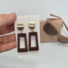 Pendant Resin earrings dangle earrings, round Stud earrings with resin aventurin