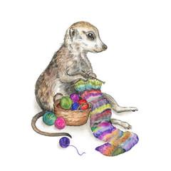 Art Print 'The Happy Knitter'