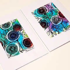 Set of Two, Hand Painted, Original, Ink on Paper, Paintings as Art Cards