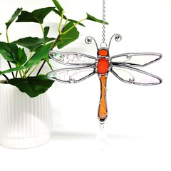 Dragonfly Stained Glass Suncatcher  // Orange