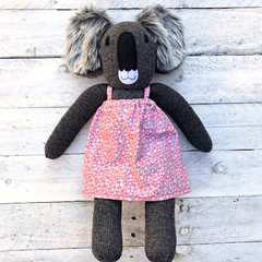 'Charlene' the Sock Koala - peach floral - *READY TO POST*