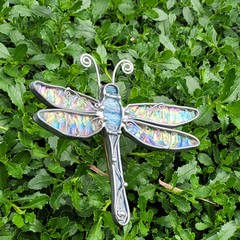 Dragonfly Stained Glass Planter Stake  // Purple-Blue