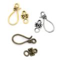 5 Large Hook Clasp Sets Metal 3 Colours Antique Silver Bronze Gold