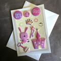 'It's A Girl' Cute Pink Princess Teddy Card