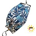 REVERSIBLE Triple Layer Face Mask - 100% cotton fabric - Banksia Blue