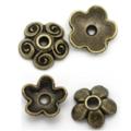 50 Flower Bead Caps 2 Styles Antique Bronze Tone