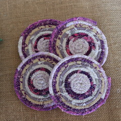 Coasters - Purple cream four pack