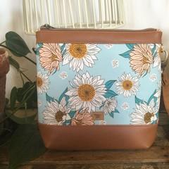 Jasmine Crossbody Bag - Sunflowers on Pale Blue/Tan Faux Leather