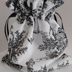 Drawstring Bag Black & White Colonial Times Toile Fabric