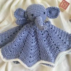 Blue Elephant Lovey Blanket/toy  - crocheted toy