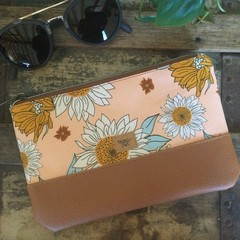 Small Flat Clutch - Sunflowers on Peach/Tan Faux Leather