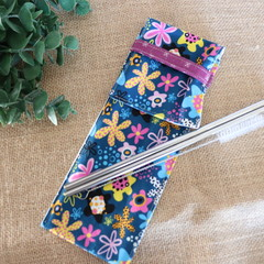 Cutlery Pouch with stainless steels straws (Six different designs)