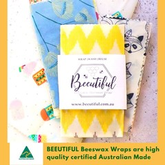 4 Pack Beeswax Food Wraps   The Beeutiful Set