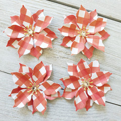 Mini Poinsettia Flowers - Red Gingham