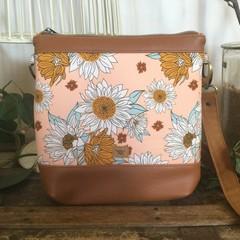 Jasmine Crossbody Bag - Sunflowers on Pale Peach/Tan Faux Leather