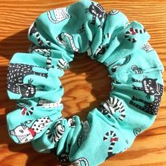 Aqua Cat Scrunchies!  Free postage!