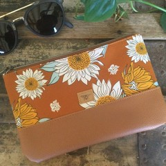 Small Flat Clutch - Sunflowers on Mustard/Tan Faux Leather