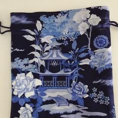 Blue Garden Pagoda Drawstring Bag pouch