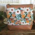 Jasmine Crossbody Bag - Sunflowers on Green/Tan Faux Leather