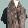 Unisex Scarf Handwoven Handspun Natural Wool Undyed