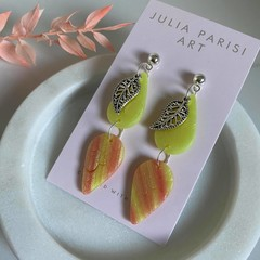 Double Drop Lemon and Orange Stamped Handmade Drop Earrings with Silver Charm