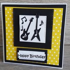 Handmade Card -Guitar Birthday Card