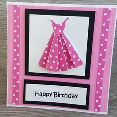 Handmade Card - Pink Dress Happy Birthday Card