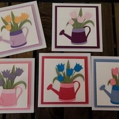 Handmade Card - Watering Can & Tulip Card