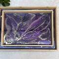 Purple wooden  trinket trays, resin coated, handmade.