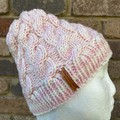 Pink and cream cable knitted beanie, pompom winter beanie, ladies pink cable bea