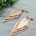 Genuine Leather  Stud Dangle Earrings, Rose Gold