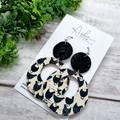 """""""Chickens"""" Cork/Genuine Leather, Circle Hoop Earrings Black/White"""
