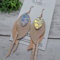 Genuine Leather, Feather Dangle Earring, Rose Gold/ Pink