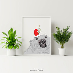 Wombat Poster - A3 - CHRISTMAS SANTA - Add text for FREE