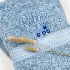 Embroidered blue towel set   Personalised gift idea   Practical keepsake