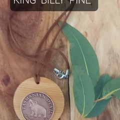 King Billy Pine pendant with Tasmanian Devil