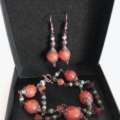 Carnelian Stone & Picasso Bead Copper Bracelet Earring Set OOAK Unique Jewellery