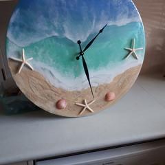 Wall Clock ocean inspired resin handmade