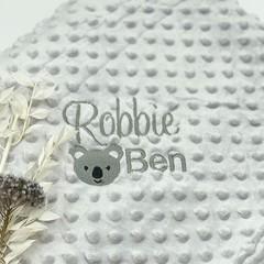 Embroidered baby birth blanket   Practical keepsake   Personalised gift idea