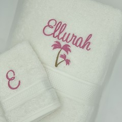 Embroidered white  towel set   Personalised gift idea   Practical keepsake