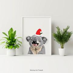 Koala Poster - A3 - CHRISTMAS SANTA - Add text for FREE