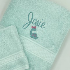 Embroidered aqua towel set | Personalised gift idea | Practical keepsake