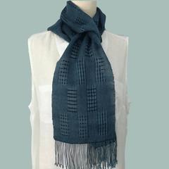 Lightweight Tencel Scarf,  Handwoven, Blue