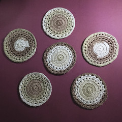 Six Rustic Coasters in Natural Colours
